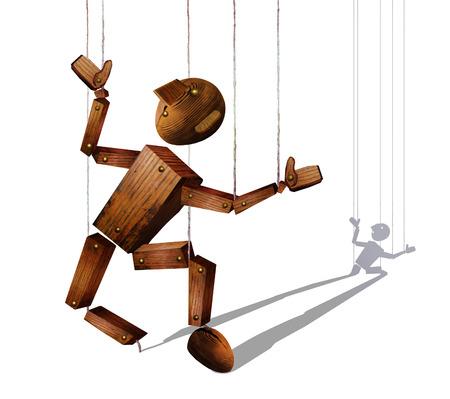 Broken wooden marionette, isolated on white backgpound Reklamní fotografie