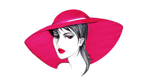 Lady in a red hat. Figure ballpoint pen and red marker Archivio Fotografico