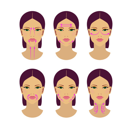 Self-massage of facial wrinkles of the face and neck. Vector illustration