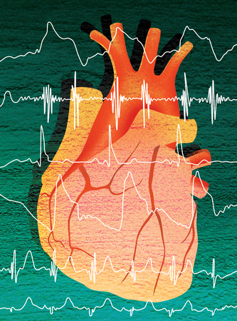 Human heart and cardiogram. Digital illustration