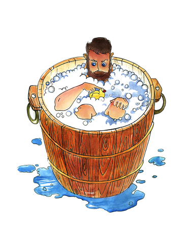 Man bathes in a wooden bath. Humorous watercolor illustration