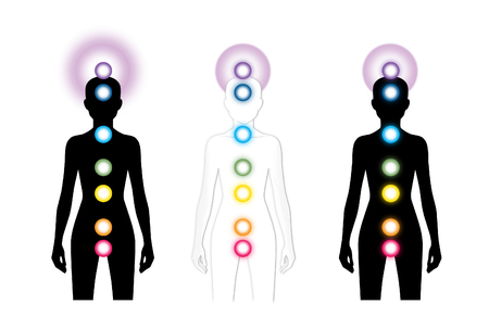 Silhouette woman figure with chakras