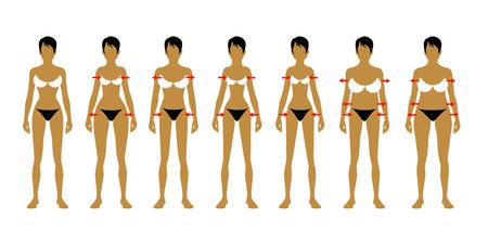 Seven fashion Woman figure type. Vector image