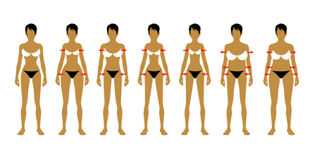 Seven fashion Woman figure type. Vector image Banco de Imagens - 121502781