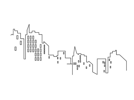Line city scape isolated or white background. Flat design. Vector graphics