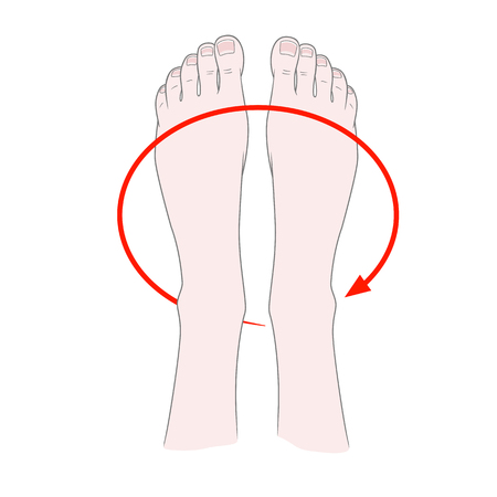Foot massage. Kneading and prevention of diseases of the bones of the ankle. Rotation of the feetVector illustration