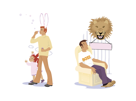 Set of Daddy. Dad with a bunny suit blows bubbles for a daughter. Daddy is the boss. Man with his eyes closed is sitting in a chair under a stuffed lion head.