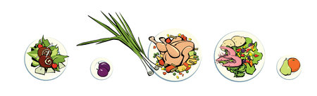 Dietary menu for the day. Graphic image. Meat, fish, vegetables, fruits, onions. Isolated on white background