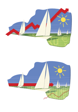 Seasonal growth of the foreign exchange market. White sailboats on a green field on a sunny day.