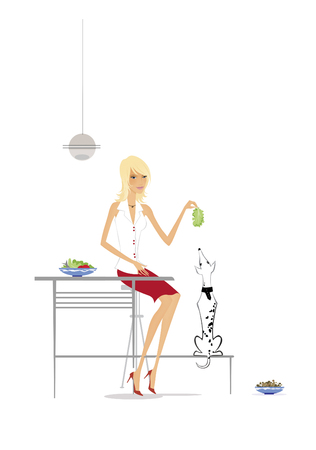 Vegetarianism. Slim blonde in the kitchen playing with a dog.