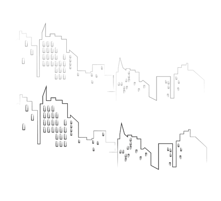 Line city scape isolated or white background. Flat design.