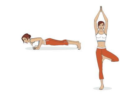 Asanas yoga pose women. Isolated on white background Banco de Imagens