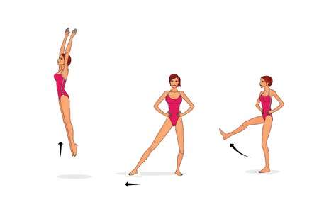 Training the muscles of the legs and inner thigh. Isolated on white background