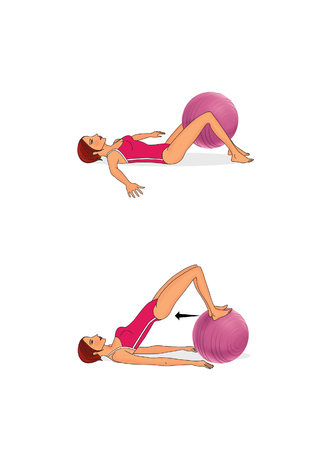 Exercise the abdominal muscles, back and inner thigh with a fitball. Isolated on white background Banco de Imagens