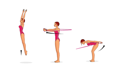 Training the muscles of the arms and torso using a rubber band or an expander. Isolated on white background Imagens