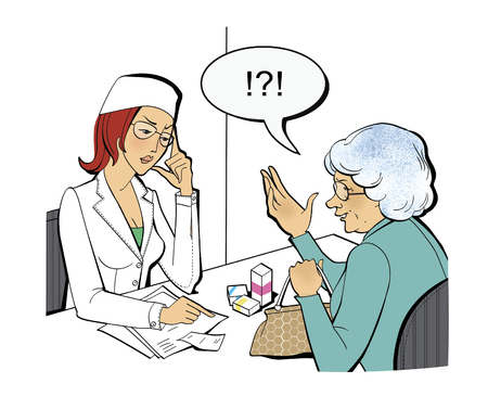 Outraged elderly woman with boxes of medicines at the doctors office.