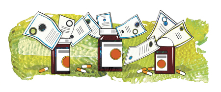 Certified medicines. Vials and capsules with medicines on the table. Banco de Imagens