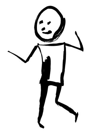 Graphic painted tassel man. Emotion: fun. Isolated on white background Standard-Bild - 122684647