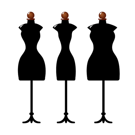 Three black female body shape mannequins. Torso dummy for woman tailor mannequins. Three types of female figure. Vector image. Isolated on white background