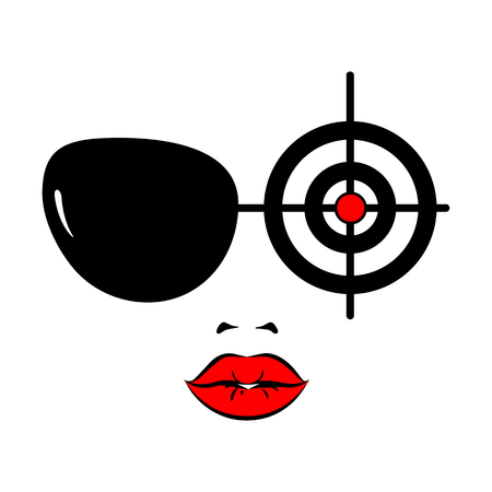 Beautiful young woman with sunglasses and target. Secret agent, spy, policeman, detective or security guard. Female character face. Vector illustration