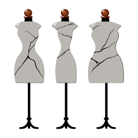 Three old cracked female body shape mannequins. Torso dummy for woman tailor mannequins. Three types of female figure. Vector image. Isolated on white background Ilustração