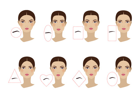 Female eyebrow shapes in accordance with the shape of the face. Flat design. Vector illustration Vector Illustration