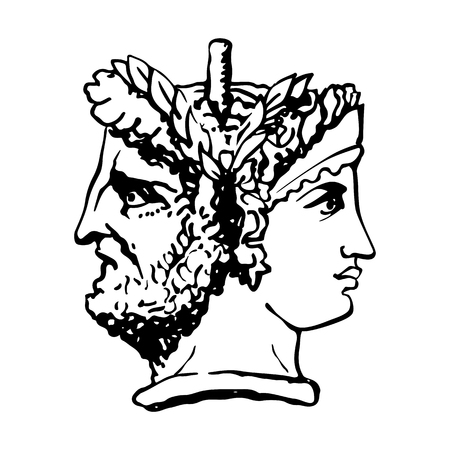 Two-faced Janus. Woman and man heads in profile, connected by the nape. Stylization of the ancient Roman style. Graphical design. Vector illustration. Stock Illustratie