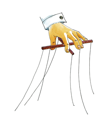 Hand with puppet control mechanism. Watercolor humorous illustration.