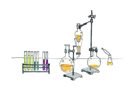 Mad Chemistry Test tubes and flasks on a tripod. Sublimation and distillation of liquids. Watercolor humorous illustration.