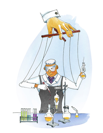 Commercial experiments. The hand controls the puppet scientist. Man in overalls conducts chemical experiments. Watercolor humorous illustration. Stock Photo