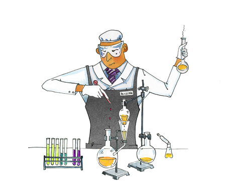Crazy chemist. Man in overalls conducts chemical experiments. Test tubes and flasks on a tripod. Sublimation and distillation of liquids. Watercolor humorous illustration.