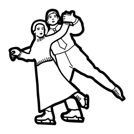 Pair figure skating in the old style. Retro drawing. Vector illustration