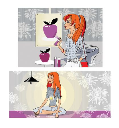 Hobbies free time. The girl draws an apple. The girl is meditating.