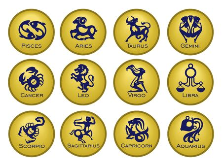 Set of twelve signs of the zodiac on the background of gold circles. Prediction of the future. Vector illustration. Isolated on white background