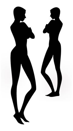 Exquisite silhouette of a barefoot girl with arms crossed. Vector image Reklamní fotografie