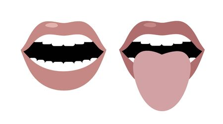 Open mouth and tongue sticking out. Vector image. Flat design Ilustrace