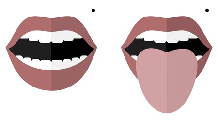 Smile with open mouth and a mole on the left cheek. Monroe Marilyn. Open mouth and tongue sticking out. Changes in color and appearance in diseases. Vector image. Flat design. Ilustração