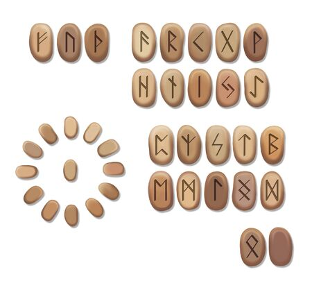 Stack of wooden runes isolated on white background. Runes are cut from wooden blocks. Magic symbols for esoteric divination. The circle of the runes for divination. Reklamní fotografie