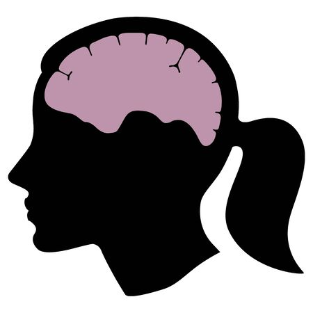 Silhouette woman head with brain organ. Flat design. Vector  illustation isolated on white background Ilustrace