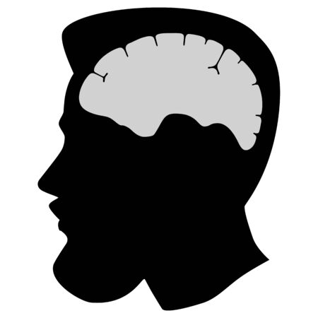 Silhouette man head with beard and brain organ. Flat design. Vector  illustation isolated on white background