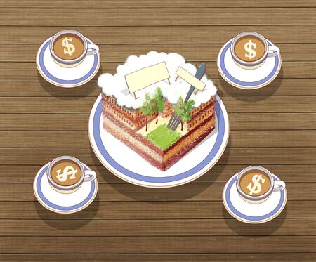 Tourists breakfast. A piece of cake in the form of a city and 4 cups of coffee with milk and a dollar sign. Against the background of a bamboo table.