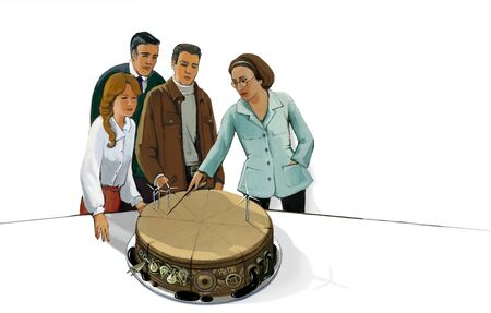Group of people exploring the possibilities of investing on the example of a cut cake with various investment fillings. Business metaphor.