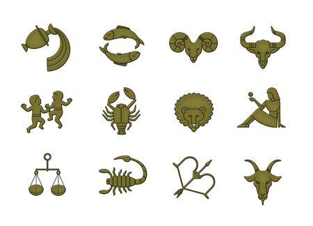 Set of 12 signs of the zodiac metallic bronze style. Horoscope. Isolated on white background