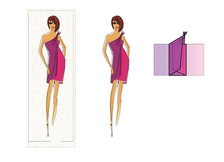 Manual to make a top of a scarf or pareo. Step by Step Guide. Design drawing and pareo addition scheme Фото со стока