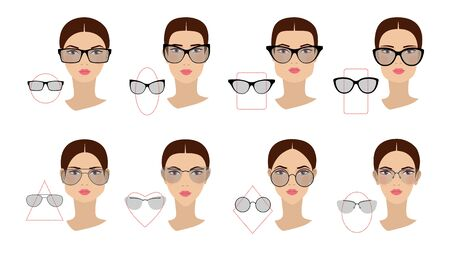 Female glasses shapes in accordance with the shape of the face. Eight Face shapes with options for spectacle frames on a white background. Flat design. Vector illustration
