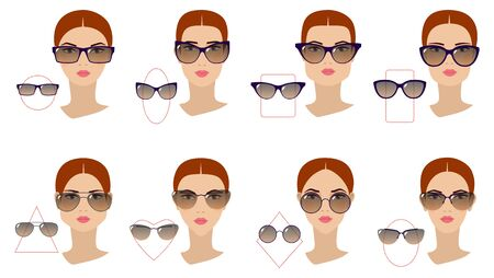 Female sunglasses shapes in accordance with the shape of the face. Eight Face shapes with options for spectacle frames on a white background. Flat design. Vector illustration