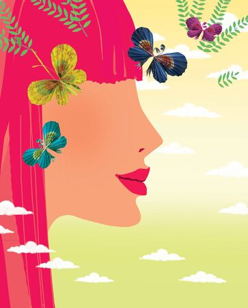 Profile of a young girl with red hair and paper butterflies against a gradient sky with cumulus clouds