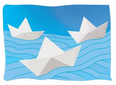 Three paper boats on the blue waves. Journey. Message. Illustrative mock up. Reklamní fotografie