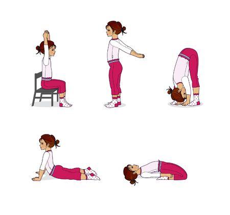 Yoga for children. The little girl is training. Yoga poses. Isolated on white background Reklamní fotografie