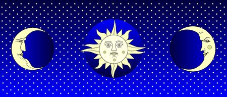 Fantastic starry sky for background. Sun and moon with the face of a mans and woman. Retro and folk style. Flat design Reklamní fotografie